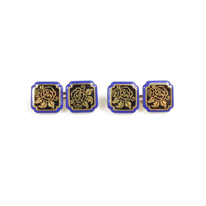Pair of Art Deco enamel and gold square panel cufflinks